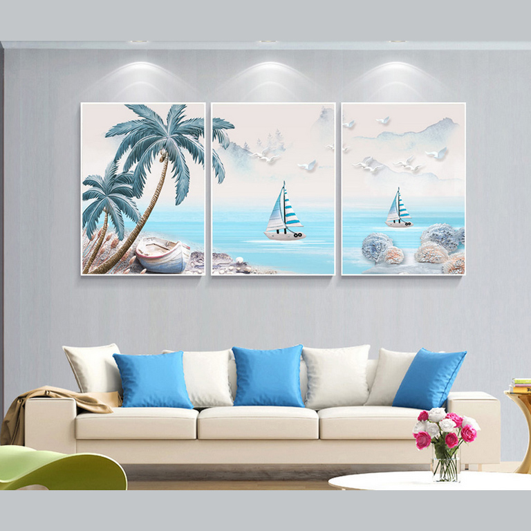 2018 New Design Simple 3 Panels Seascape And Palm Colorful Abstract Oil Paintings Print
