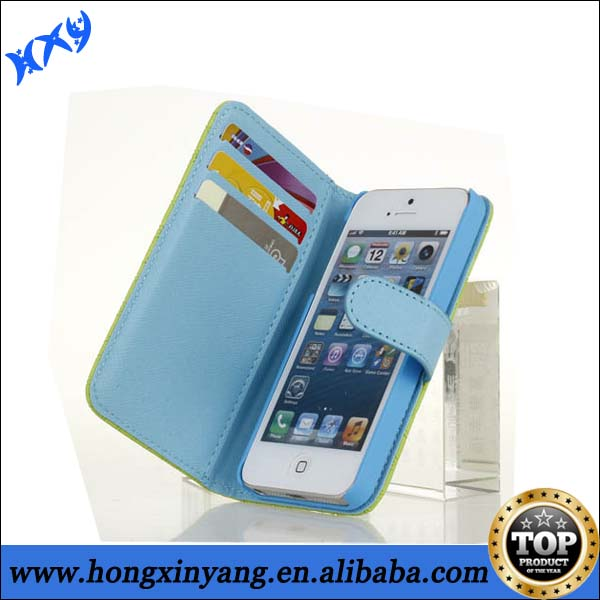 Double Colors Leather Cell Phone Case For iPhone 5,Leather Faceplate Mobile Phone Case For iPhone 5s.