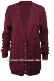 NEW LADIES LONG SLEEVE HEAVY KNITTED CARDIGAN SWEATER