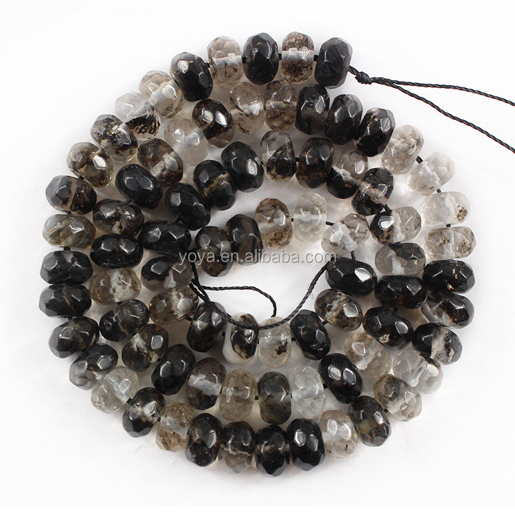 SB6667 Wholesale rondelle black rutilated quartz beads,faceted natural loose gemstone,jewelry beads supply