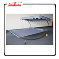 Steel Moving Sun Lounger Chaise w/ Canopy and Wheel