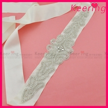 wholesale 2'' ribbon rhinestone belt for wedding dress WBB-007