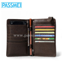 Leather business men travel men long wallet with pen holder and phone seats