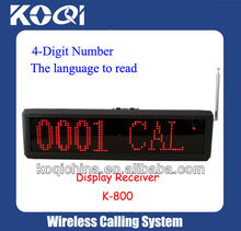 Restaurant Wireless Paging System LED Display Receiver K-800 show 4 digit number and English voice prompt