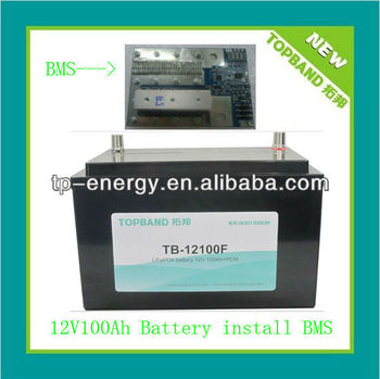 Energy storage lifepo4/lithium battery 12V 100AH with built-in BMS