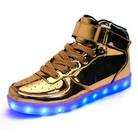 High quality fashion kids unisex LED light lace-up Luminous casual shoes