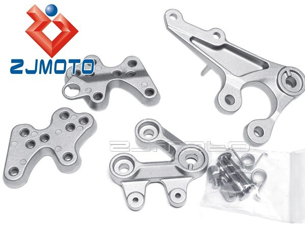 SILVER FRONT RIDER FOOT REST PEGS REARSETS BRACKET FIT FOR 2005-2013 SUZUKI GSXR1000