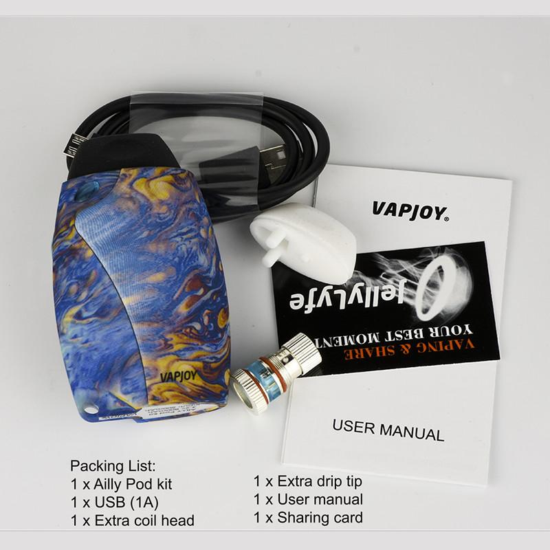 Original VAPJOY AILLY Pod Kit with built 800mah Battery E Cigarette vaporizer for 0.4ohm SS31 electronic Cigarette vape pen Kit