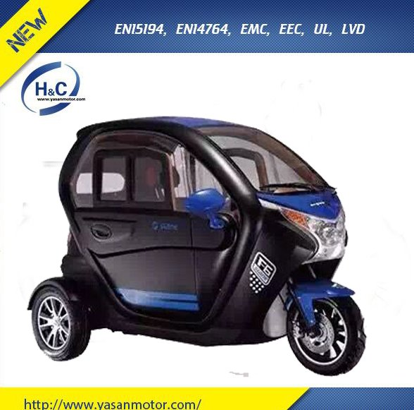 2016 New design cheap 3 wheel closed tricycle electric car for passenger, 3 wheel with canopy tricycle