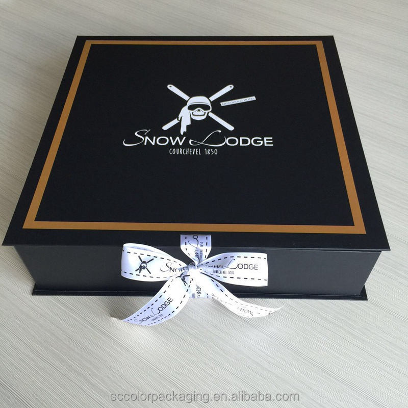 2014Luxurious black ribbon folding cardboard box for ugg boots