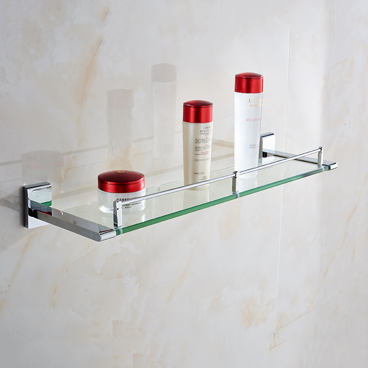 Low price chrome plated bathroom glass shelf, corner shelf