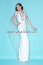 Latest design formal evening gown with shawl of crystal sequin TH-2464