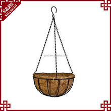 S&D Wholesale Coconut Fiber Hanging Flower Basket with Coco Liner, Metal Wire