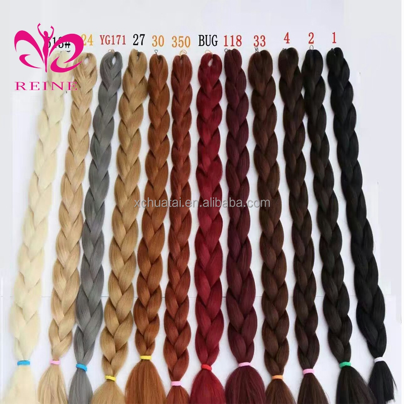 Wholesale Japanese synthetic hair extension high quality raw material ombre jumbo braid synthetic hair for braiding