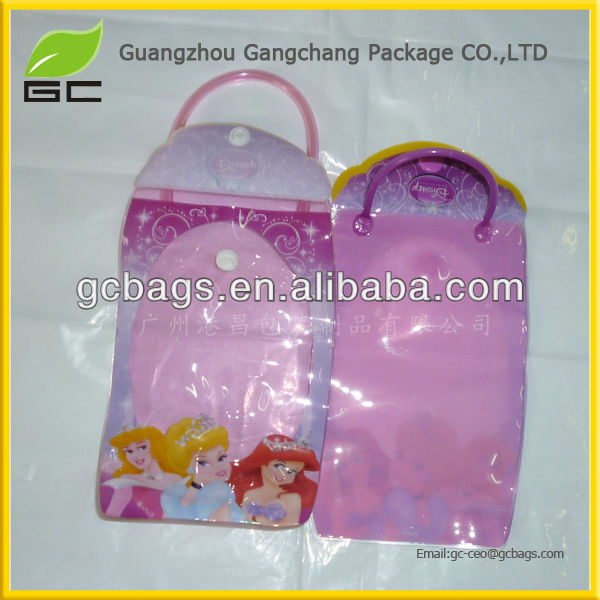 2016 transparent PVC hair extension bags with snap button closure, plastic bags