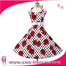 Party Rockabilly 50s Floral Polka Dots Petticoat Swing dress Evening Prom Vintage Retro Dress