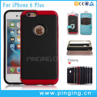Wholesale Litchi Pattern Soft TPU Hard PC Bumper Mobile Cover Phone Mobile Case For iPhone 6