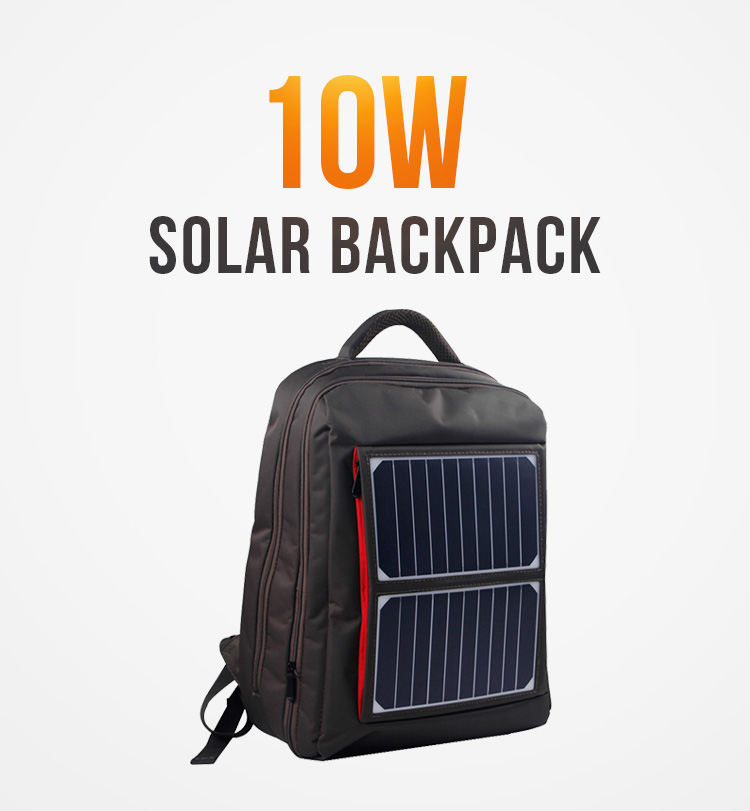 10w hiking solar panel charging bag