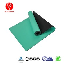 Super wet grip PU toplayer hot yoga practise printed position guide line natural rubber yoga mat