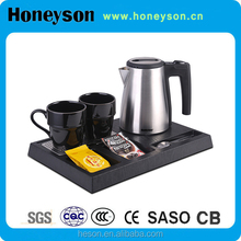 Honeyson new small electric cordless hotel quiet water kettle sets