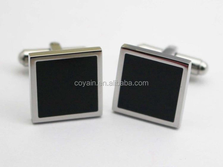 316L stainless steel square Black enamel cufflinks for men