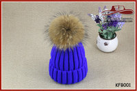 Royal Blue Winter Wool Hat Faux Fur Ball Hat Knit Warm Ski Cap