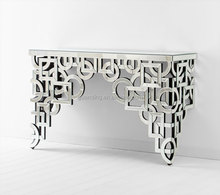 natural MDF dressing table with cutting pattern mirror
