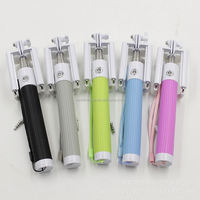 one-piece folding wire clip cell phone selfie stick with stylus pen