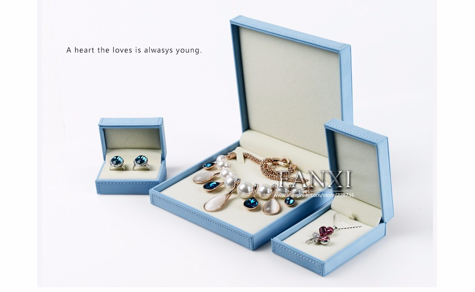 FANXI Delicate Custom Logo Jewelry Bangle Earrings Necklace Ring Gift Storage Boxes Blue PU Leather Plastic Packaging Box