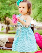 2014 Latest Chevron Cotton Dresses for Baby Girls Hoilday One-Shoulder Fancy Baby Dress Wholesale Baby Summer Chevron Dress