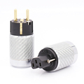 Pairs Carbon Fiber Gold Plated EU Schuko Power Plug Euro Portugal AC Terminals IEC Female