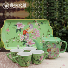 Home decorative hand painted Green ceramic tea set wholesale
