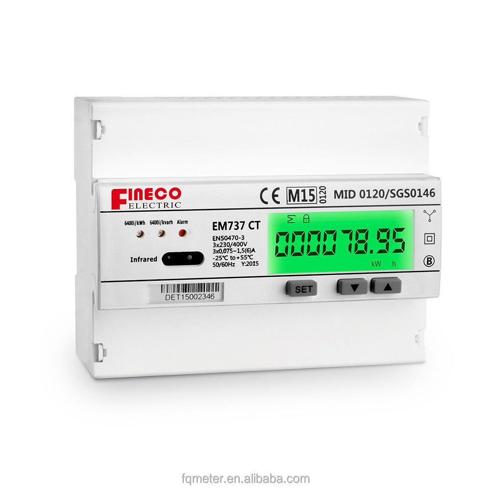 EM737 CT 3*230/400V 1.5(6)A MID certificated 3 phase power meter digital watt meter communication rtu