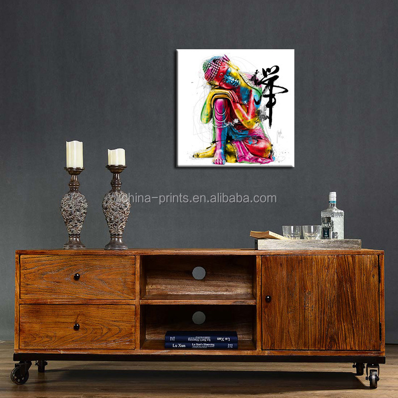 Modern Art Buddha Face Abstract Stretched Canvas Art Religion & Spirituality Wall Decor Painting