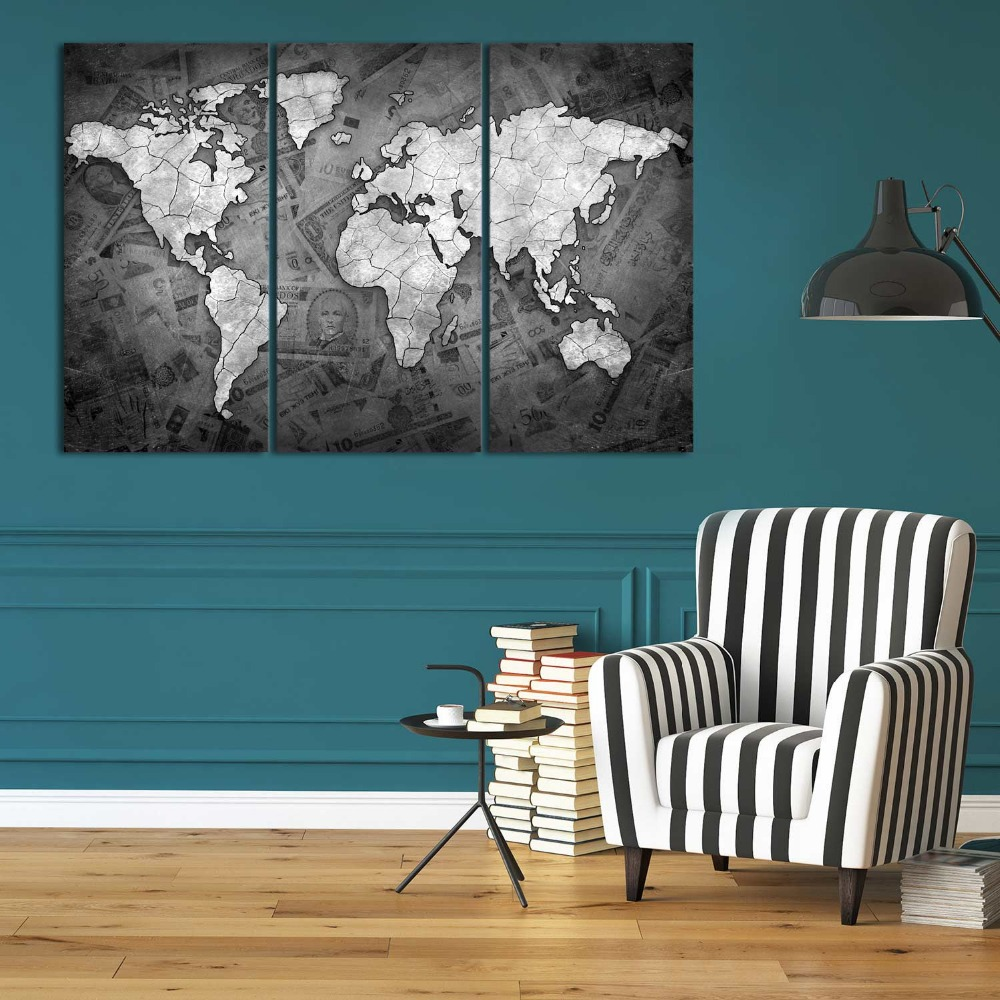 World map custom pictures modern home decor canvas wall art prints giclee printing
