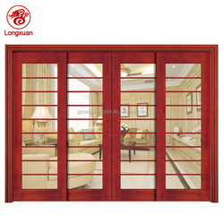 High quality wooden door with tempered glass four panel sliding door
