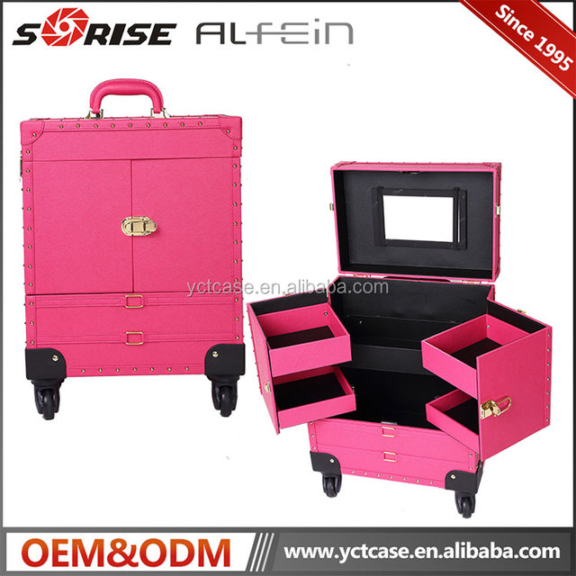New design professional makeup cosmetic trolley case with best quality