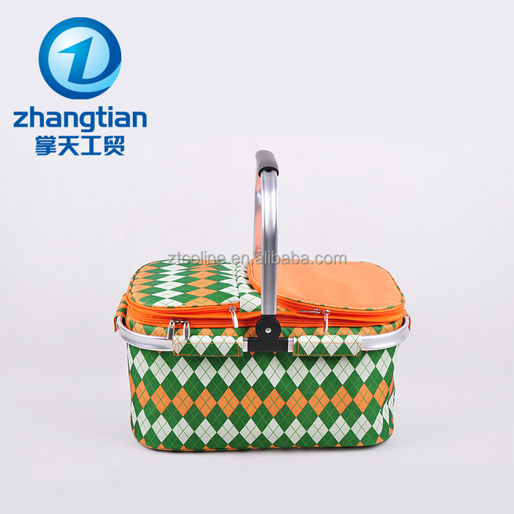 wholesale high quality 600D oxford aluminum frame cooler folding cloth shopping basket