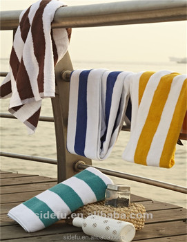 Customized 100% Cotton Hotel Stripe Luxury Beach Towel