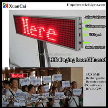 Hand-held rechargeable LED placard display LED moving message paging board