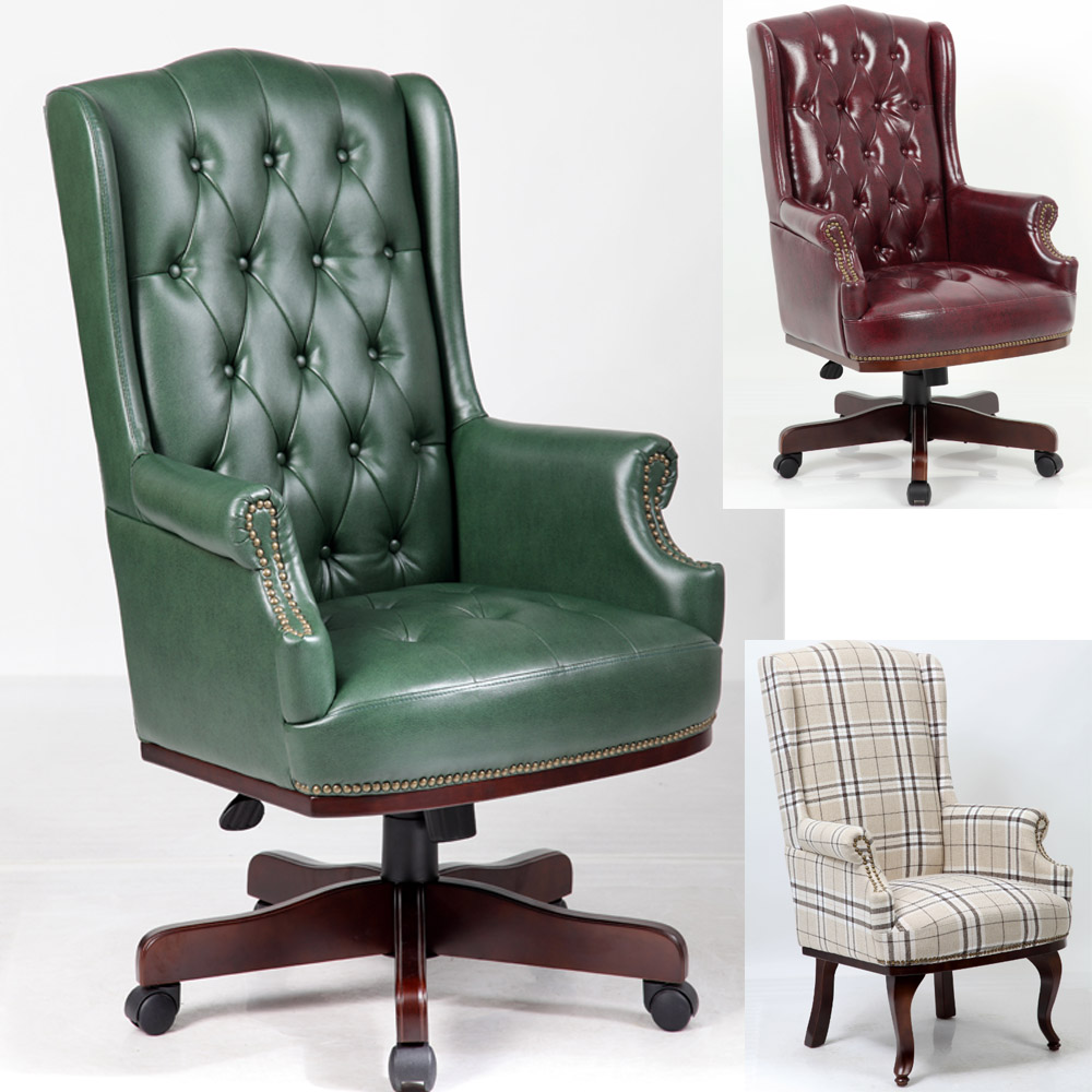 hl-2006 chesterfield antique captain style synthetic leather upholstered high back arm <strong>chair</strong>