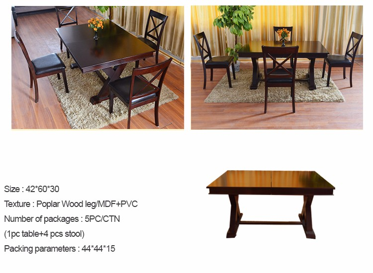 Wooden heavy duty dining table and chairs set of high for Quality wood dining tables