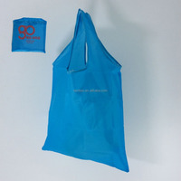 Logo printed reusable polyester folding shopping bag for promotion