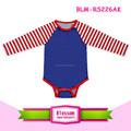 4th Of July Royal Blue Patriotic Baby Raglan Romper Onesie Long Sleeve Red White Stripes Unisex Baby Raglan Onesie Wholesale