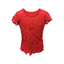 Fashion Collection Viscose Lace Spandex Girls Children Fancy Round Neck Cap Sleeve Red Color Party Wear Top with Lace