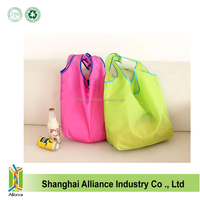 Wholesale promotion reusable 190T nylon foldable shoulder shopping bag with pocket