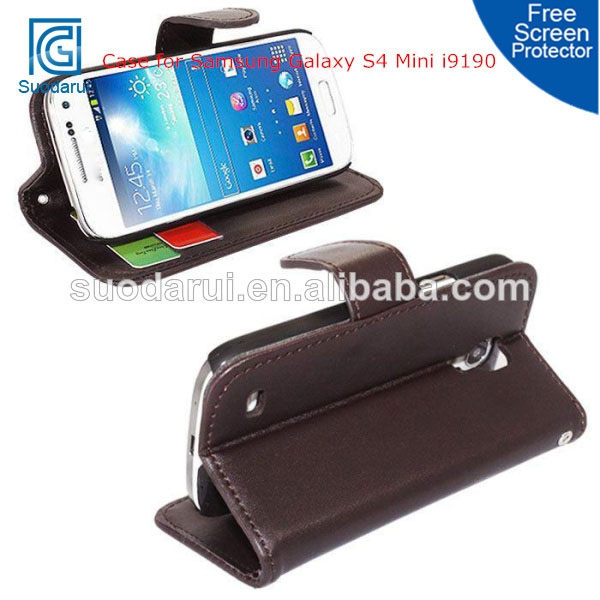 Credit Card Holders PU Leather Wallet Stand Cover Case For Samsung Galaxy S4 Mini i9190