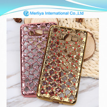 mobile phone hollow out cover electroplating tpu case with diamond for Samsung