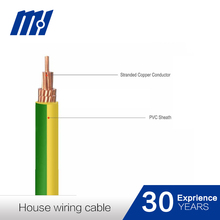 Solid or Stranded copper conductor pvc insulated green yellow ground wire
