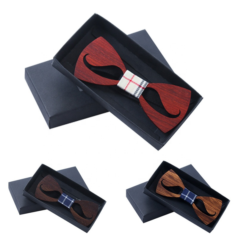 Wholesale High Quality Woody beard bow ties simple Men wood bow tie custom wooden tie